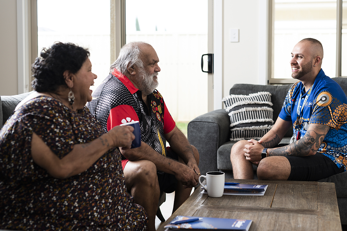 Aboriginal clients in home with Outreach Worker